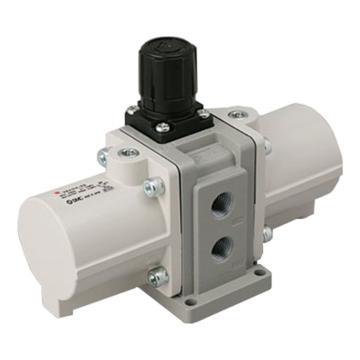 "SMC VBA-A增壓閥,手動操作型,接管Rc1/4"",帶壓力表與消音器,VBA10A-02GN"
