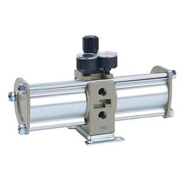 "SMC VBA-A增壓閥,手動操作型,接管Rc1/2"",帶壓力表與消音器,VBA40A-04GN"