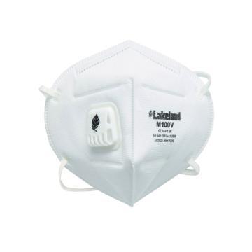 Lakeland M100V折叠式防雾霾防PM2.5带阀口罩(单片装),耳带式,20只/盒