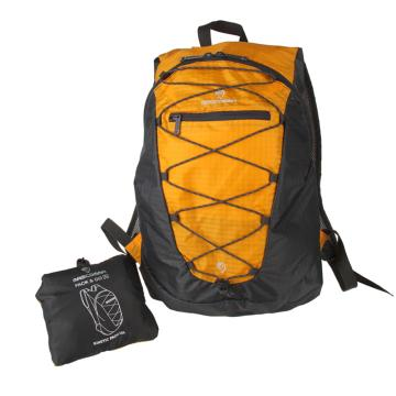 MASCOMMA 雙肩背抽繩折疊收納包, BS00203/YGY (黃灰) 單位:個