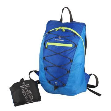 MASCOMMA 雙肩背抽繩折疊收納包, BS00203/BBL (雙色藍) 單位:個