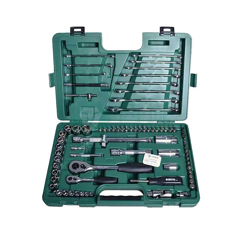 """7件6.3mm系列六角套筒:7,8,9,10,11,12,13mm12件12.5mm系列六角套筒:8,10,12,13,14,15,16,17,18,19,22,24mm2件12.5mm系列火花塞套筒:16,21mm1件6.3mm系列快速脱落棘轮扳手 1件6.3mm系列旋柄 1件6.3mm系列滑行杆 1件6.3mm系列可弯式接头 1件6.3mm万向接头 2件6.3mm系列转向接杆(2"""",4"""")1件12."""
