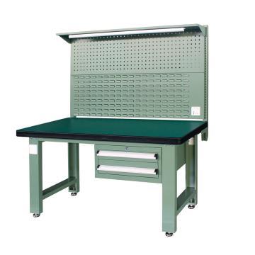 重型工作台, 1.5m (带2抽屉及后挂板),绿色(RAL6011)