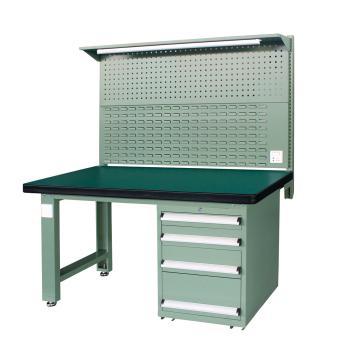 重型工作台, 1.5m (带4抽屉及后挂板),绿色(RAL6011)