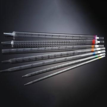 一次性移液管,25ml,加长,刻度:2/10,红色色环,未消毒,10支/包,150支/箱