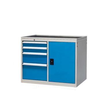信高 固定式工具柜,(四个抽屉+门柜)蓝色