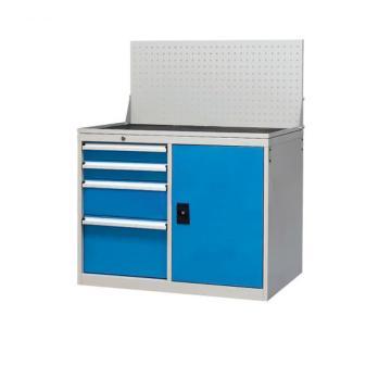信高 固定式工具柜,(四个抽屉+门柜+挂板)蓝色,无滚轮