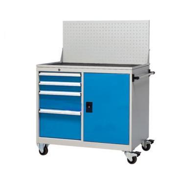 信高 移动式工具车,(四个抽屉+门柜+脚轮+挂板)蓝色