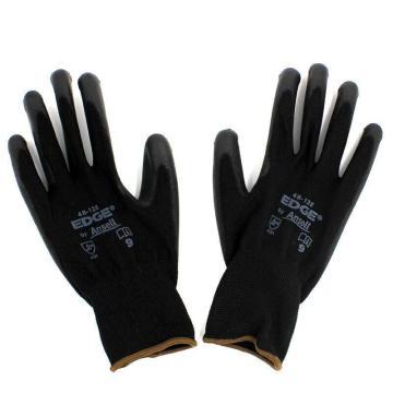安思尔Ansell PU涂层手套,48126090,黑色涤纶PU掌部涂层手套