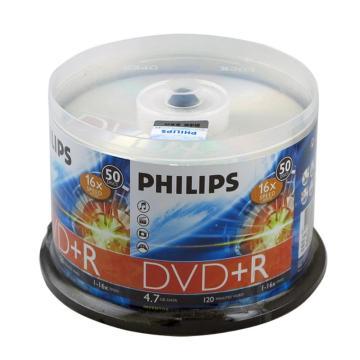 飛利浦 光盤,DVD+R 光盤 4.7G/16X(50片筒裝) 銀色 單位:筒