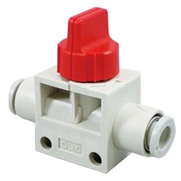 SMC 3通热塑球阀,VHK3两端插管型,带L型托架,红色旋钮,8*8