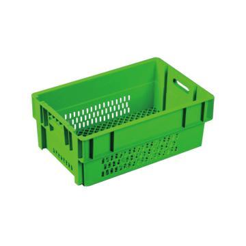 环球 反转套叠网格箱,尺寸(mm):600X400X230,绿色