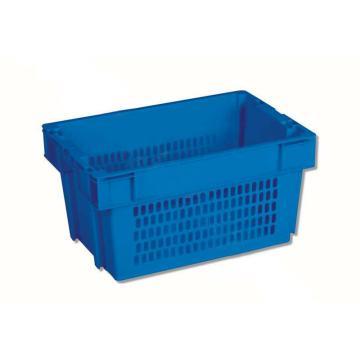 环球 反转套叠网格箱,尺寸(mm): 600X400X300,网底,蓝色