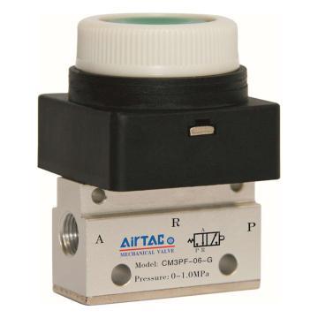 亚德客CM3PF平头按钮型手动阀,颜色绿色,CM3PF-06-G