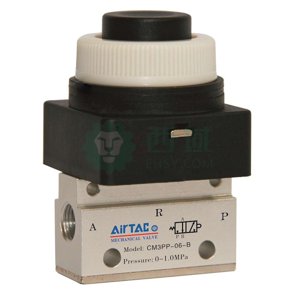 亚德客airtac cm3pp凸头按钮型手动阀,按钮黑色,cm3pp图片