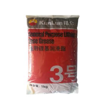 昆仑 润滑脂,通用锂基脂 3号,1kg*10袋/箱