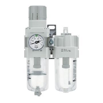 "SMC 二聯件,接管Rc3/8"",手動排水,有壓力表,AC40A-03G-A"