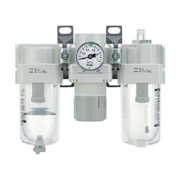 """SMC 三聯件,接管Rc3/8"""",自動排水,無壓力表,AC40-03D-A"""