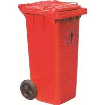 垃圾桶,两轮移动垃圾箱,120L,红