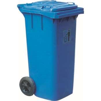 垃圾桶,两轮移动垃圾箱,120L,蓝
