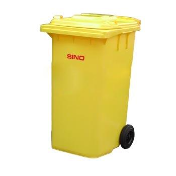 垃圾桶,两轮移动垃圾箱,240L,黄