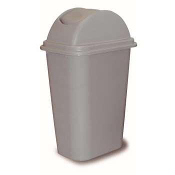 方形摇盖垃圾桶,38L,浅灰