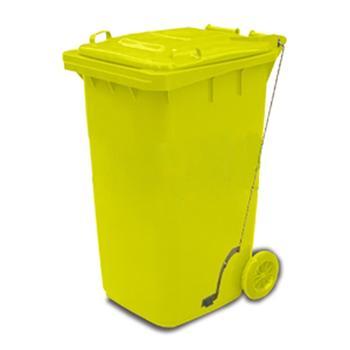 垃圾桶,踏板式移动垃圾箱,100L,黄
