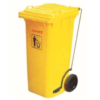 垃圾桶,踏板式移动垃圾箱,120L,黄