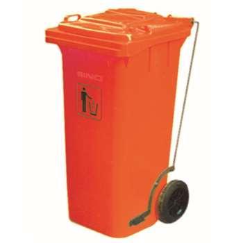 垃圾桶,踏板式移动垃圾箱,120L,红