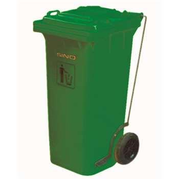 垃圾桶,踏板式移动垃圾箱,120L,墨绿