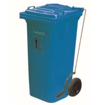 垃圾桶,踏板式移动垃圾箱,120L,蓝