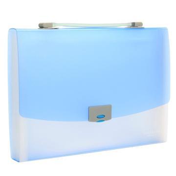 齐心 A1231 易分类 水果色风琴包 A4 12格 手提式 蓝