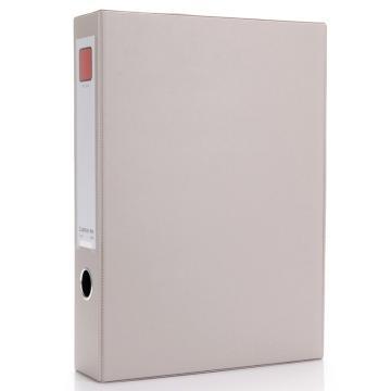 齊心 辦公必備磁扣式PVC檔案盒,A1236 A4 55MM 帶壓紙夾 灰 單個