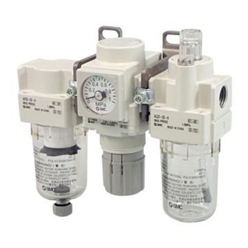 """SMC 三聯件,接管Rc1/2"""",自動排水,有壓力表,AC40-04DE-B"""