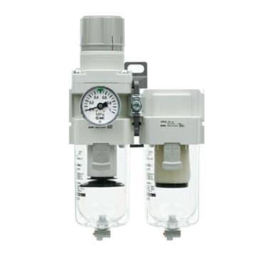 """SMC 二聯件,接管Rc1/4"""",自動排水,有壓力表,AC20D-02CG-A"""
