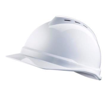 梅思安MSA 安全帽,10172476,V-Gard ABS豪华型安全帽 白 超爱戴帽衬 D型下颏带