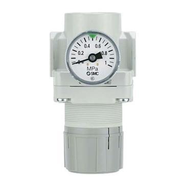 "SMC 减压阀,接管Rc1/4"",带托架带压力表,设定压力0.5-7Mpa,AR20-02BG-A"
