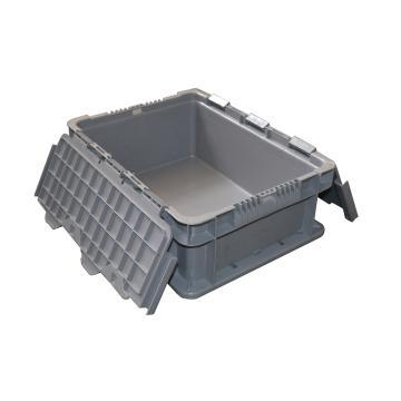 (全新料)周转箱,翻盖可堆叠周转箱, 400×300×148mm(灰)