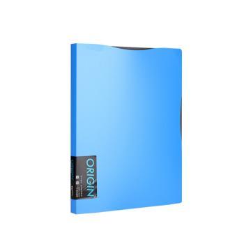 齐心 原味资料册,A509 A4 30袋 蓝 单个