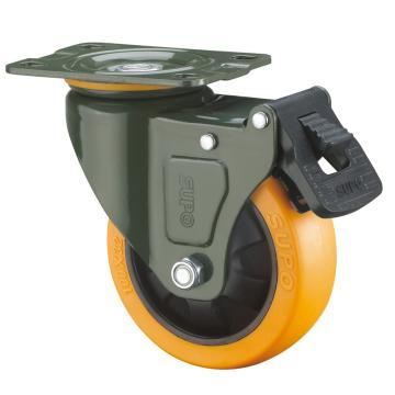 SUPO 03S款墨绿5寸平底双刹双轴承橙色PU轮 J03S-01D-125-222
