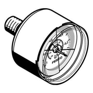 费斯托FESTO 真空压力表,R1/8,-1至0 bar,VAM-40-V1/0-R1/8-E-RG,547842