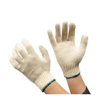 佳盾 紗線手套,4000型,650克本白滌棉手套,墨綠色邊,12副/打