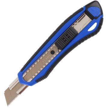 齐心 舒适自锁美工刀,B2834 大号18mm软胶护手带金属护套 颜色随机 单位:把