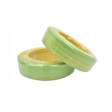 津达 阻燃聚氯乙烯绝缘多股单芯软线, ZD-BVR 4mm²黄绿色