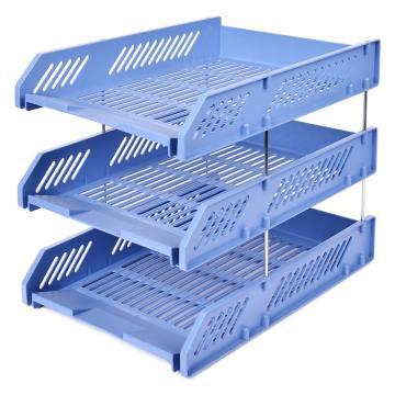 齐心 B2060 超省钱文件盘 三层 浅蓝 单个