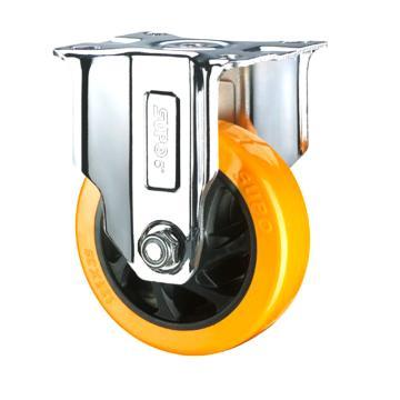 SUPO 05款镀铬5寸固定橙色PU轮 C05S-04-125-222