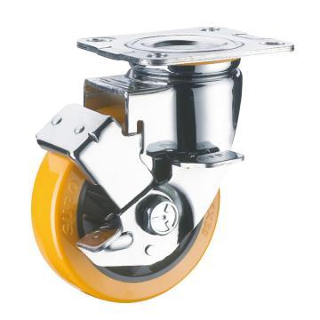 SUPO 05款镀铬5寸平底边刹橙色PU轮 C05S-01C-125-222