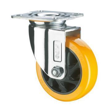 SUPO 05款镀铬5寸平底活动橙色PU轮 C05S-01-125-222