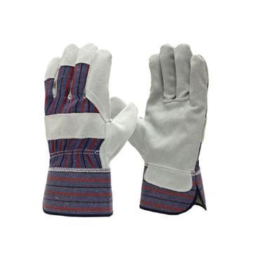 強生 半皮手套,82003501A,皮革手套 針織襯里 牛皮