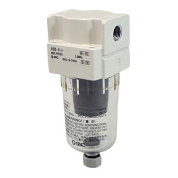 "SMC 微雾分离器,接管Rc1/4"",最大流量240l/min,0.01μm,自动排水,无托架,AFD30-02D-A"